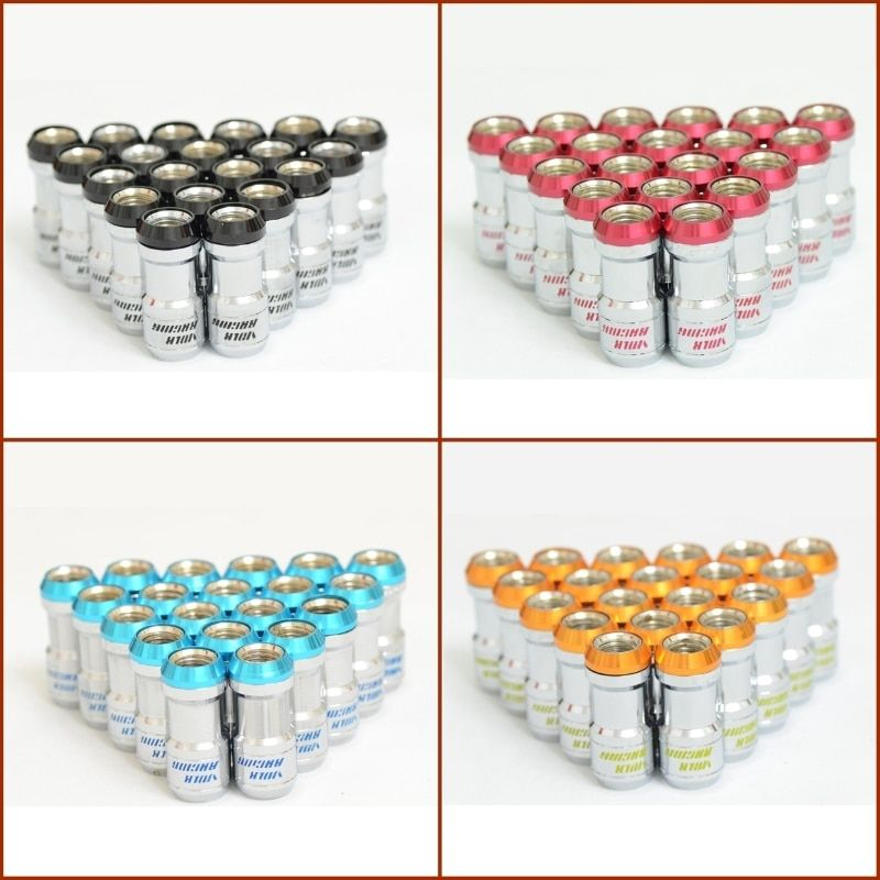 New Arrival, 20 pcs/set Volk Racing Formula Nuts Wheels Lock Lugs Nuts M12 x 1.5 4 Colors Black Yellow Blue Red Steel Nuts