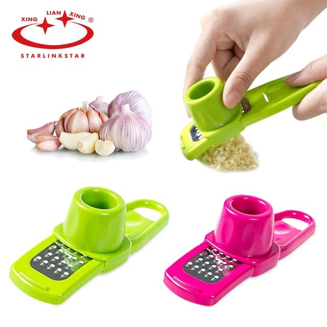 1Pc Multi-functional Plastic Stainless Steel Garlic Presses Kitchen Gadgets Chopper Cutter Garlic Grinding Kitchen Hand Tool