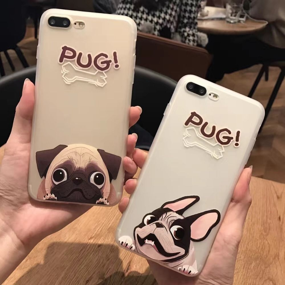 Fashion Cute Cartoon Animal Pug Dog BULLDOG Phone Case For iPhone 6 6s Plus 7 7 Plus Protective TPU Soft Capa Fundas Coque HOT!