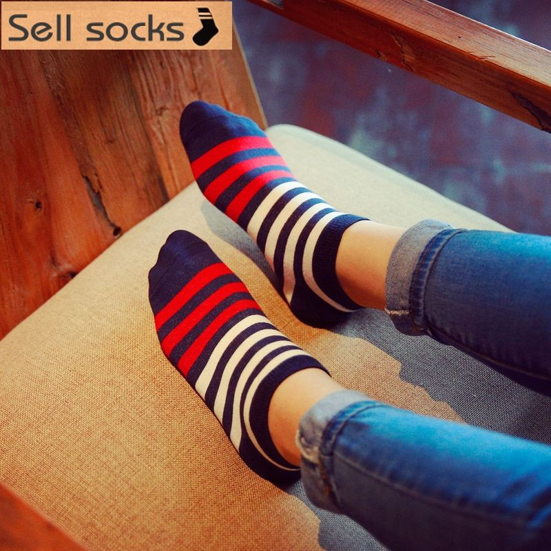 Clearance! brand new summer women Red blue colorful Stripes Casual  ankle cotton socks boat sock slippers harajuku EUR35-40