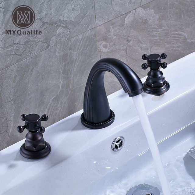 Oil Rubbed Blacken Widespread 8 Inch Deck Mounted Basin Mixer Taps Dual Cross Knob Bathroom Lavatory Sink Faucet