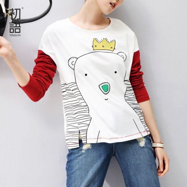 Toyouth New Arrival Women Cotton Cartoon Print Long T-Shirts Summer Loose Casual O-Neck Top