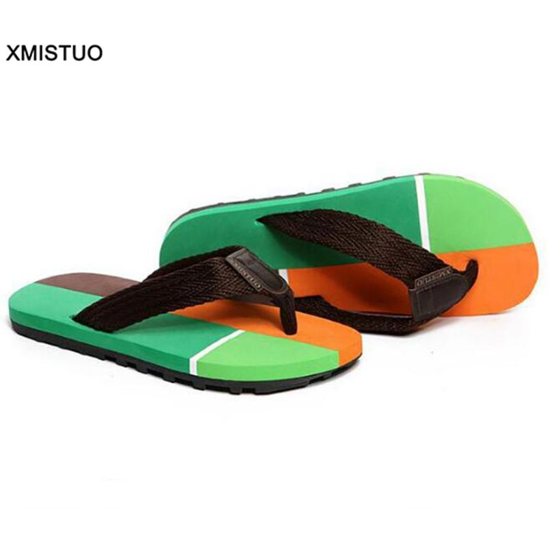 Fashion Good Quality Men Flip Flops Patchwork Bright Colorful Beach Flip Flops Nice Looking Casual Cheap Adults Male Sandals
