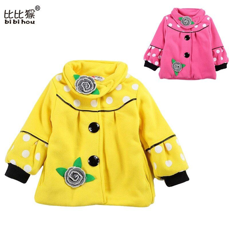 Baby Girl's Big Flower Jacket Coats Girl Outerwear Autumn Winter Children's Clothing Children Outerwear Hooded Jacket Down Coat