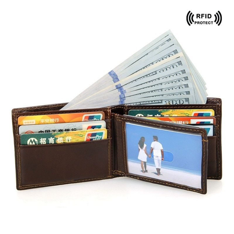Rfid Blocking Leather Credit Card Holder Mens Wallet Dollar Price Brown Safe Wallets Top id Card Protector Travel Small Wallet
