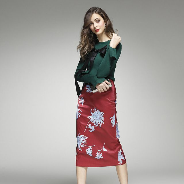 Women Autumn Newest Elegant Lady Fashion Twin Set Green Knitted Blouse+Printed Slim Skirt Runway High Quality Outfit 2 Piece Set