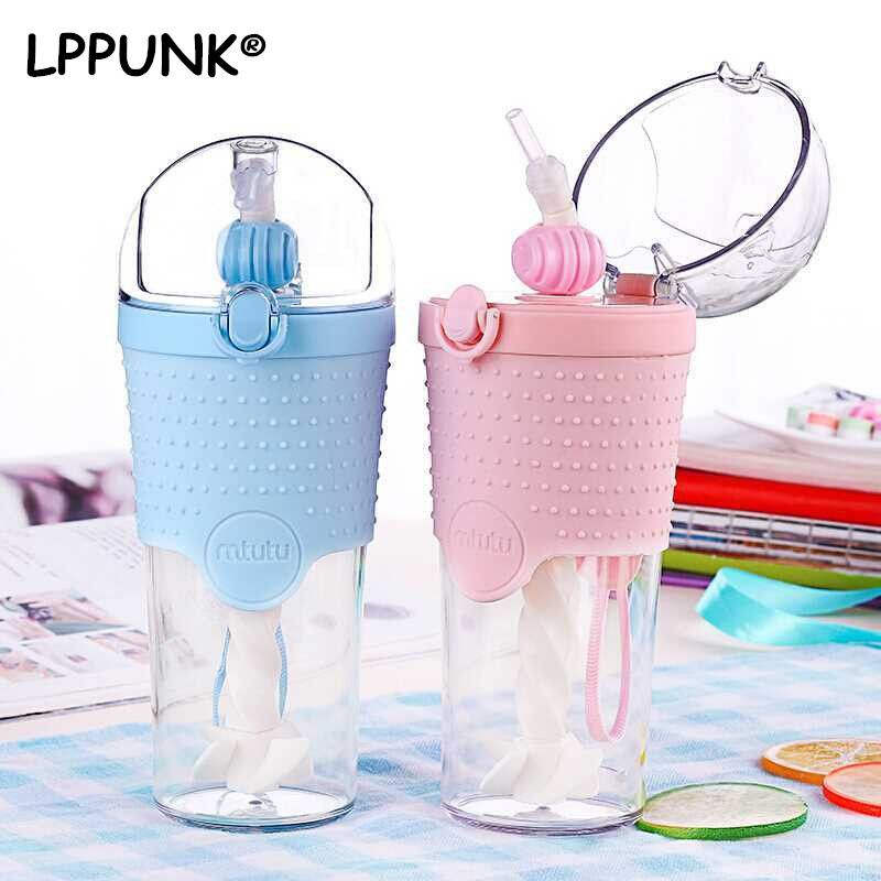 Bpa Free 500ml Cool Semicircle Lid Cup With Straw Portable Rope Plastic Straw My Water Bottle Manual Mixing Coffee Mug Lppunk