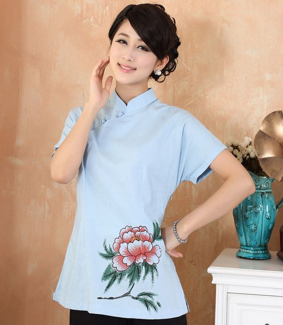 New Style Blue Lady Cotton Linen Shirt Chinese Vintage Short Sleeve Blouse Women Summer Flower Tops Plus Size XXXL 4XL 2376
