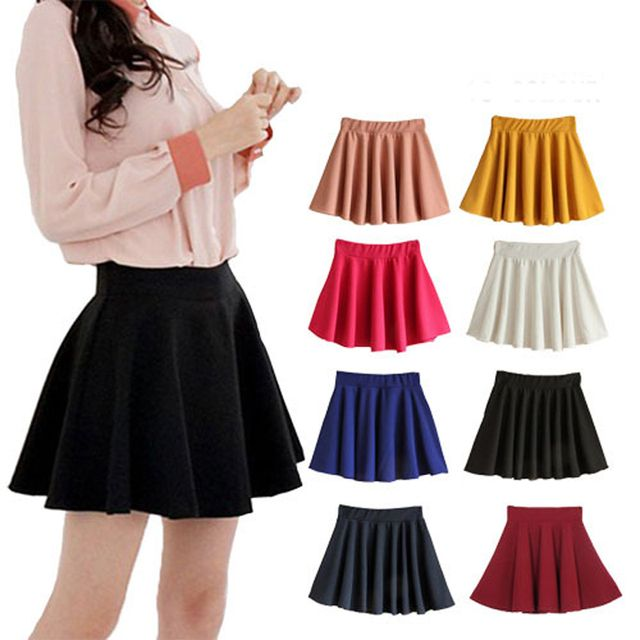 8 candy color plus size summer basic puff expansion bottom sun pleated short skirt women saia feminina tropical