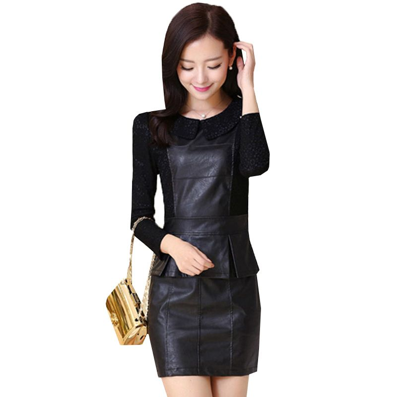 Women Long Sleeve Lace Patchwork PU Leather Dresses 2017 New Spring Autumn Dress Elegant Slim OL Dress Plus Size Vestidos AB155
