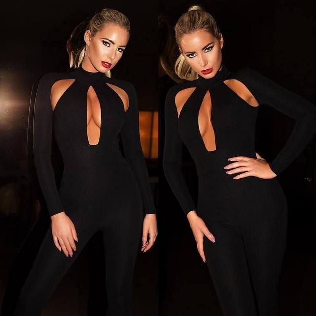 Bandage Jumpsuit Long Sleeve 2016 Black Cut Out Jumpsuit High Quality Womens Sexy Jumpsuit Night Club Wholesale HL