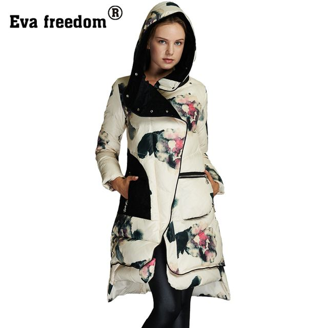 Abrigos y Chaquetas Mujer Invierno 2016 Winter Jacket woman's Floral Print White Duck Down Parka Female jacket Winter Coat Women