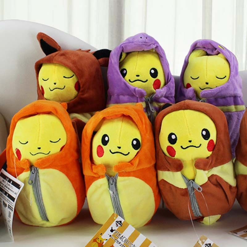6Pcs/Lot 30cm Cosplay Eevee Espeon Flareon Charizard Plush Toy Dolls With Sleeping Bag Stuffed Soft