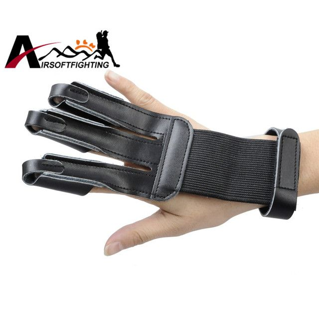 Tactical Archery Shooting 3 Finger Protective Leather Guard Outdoor Paintball Hunting Finger Tip Protector Safe Glove#