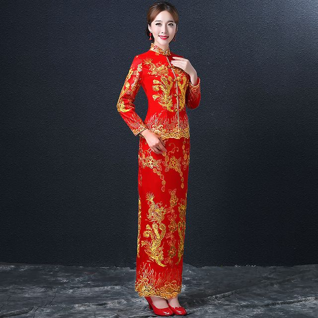 Dragon Phoenix Cheongsam Dress Women Red Lace Cheongsams Sequins Chinese Wedding Dresses Two Pieces Long Robes Qipao