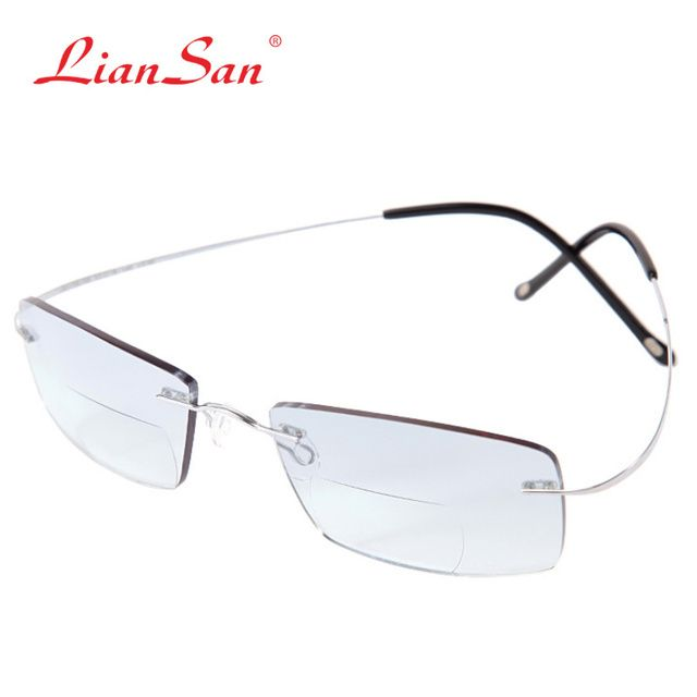 LianSan Brand 2017 Vintage Bifocal Reading Glasses Women Men Rimless Titanium Fashion L8015