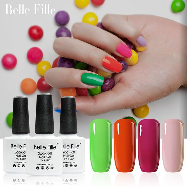 Belle Fille 10ml Nail Gel Polish 79 Colors Base Top Coat UV Gel Polish Soak Off UV LED Gels Candy Color Shining Nude Sweet Gel