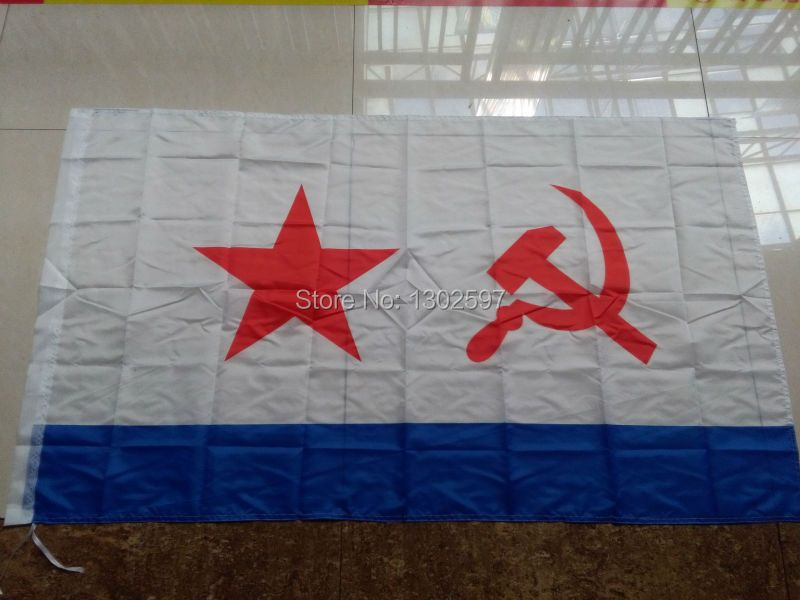 USSR Soviet Navy Flag 3 x 5 Ft 90 x 150 cm 100% Polyester Russia Russian Flags And Banners For Victory Day / Home Decoration /