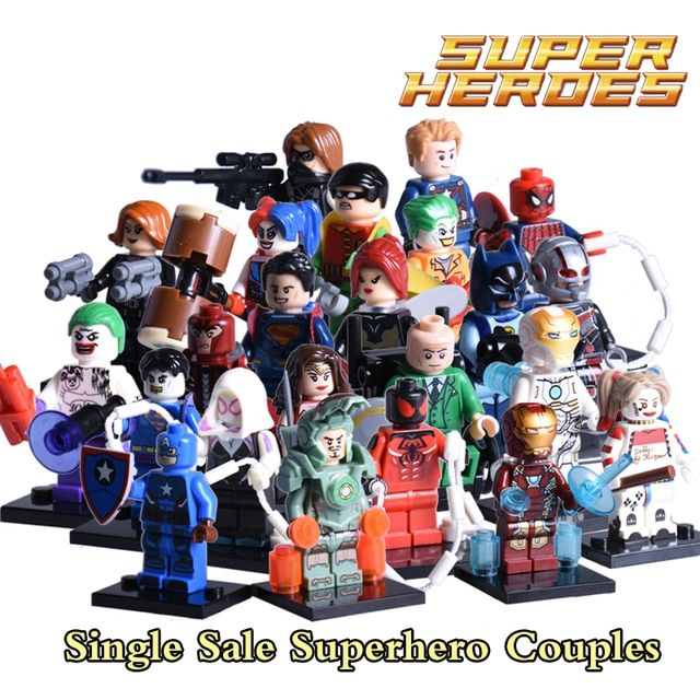 1PC Joker Harley Quinn Magneto Professor X Batman diy figures Superhero Couples Building Blocks Avengers Bricks kids Toys Xmas