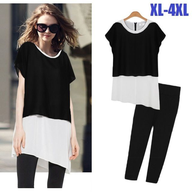 2015new fashion women summer twinset juniors women's clothes set chiffon shirt top+ Capri pants Cropped pants+blouse XXXXL52045