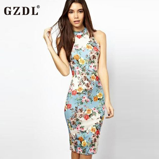 GZDL Vintage Summer Dress Women Sleeveless Floral Print Cheongsam Bodycon Slim Club Evening Party Dresses Midi Vestidos CL1888