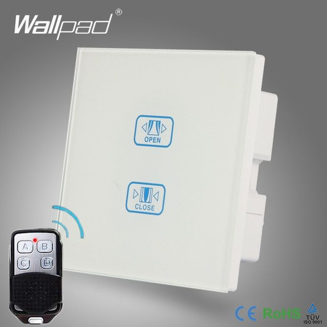 WIFI 2 Gang Curtain Switch Wallpad White Crystal Glass Broadlink Phone WIFI Remote Touch Curtain Window Control Wall Switch