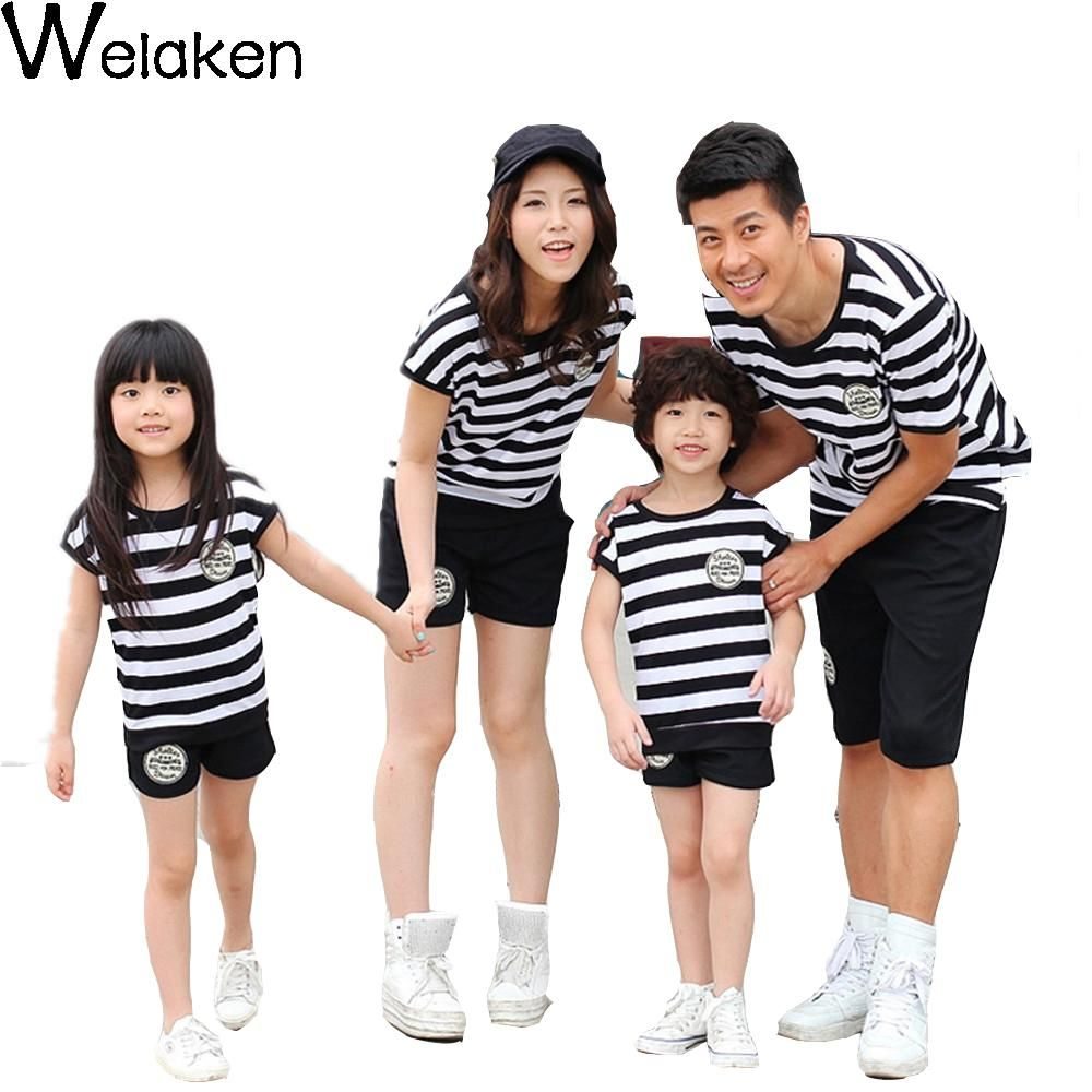 Hot Sale 2016 Summer Style Family Look Striped Short Sleeve T-Shirt +Shorts Dad Mum Daughter Son Family Clothing Set