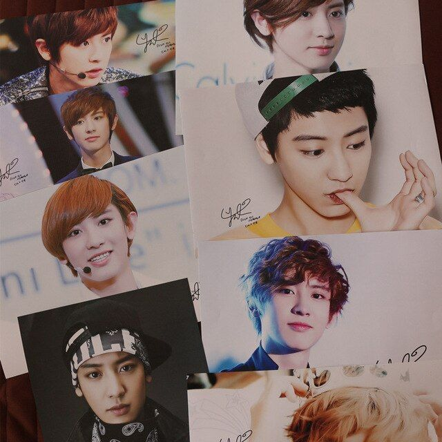 8 pcs/set different designs A3 Posters Korea famous star KPOP group EXO Park ChanYeol Paintings Wall Pictures Free shipping