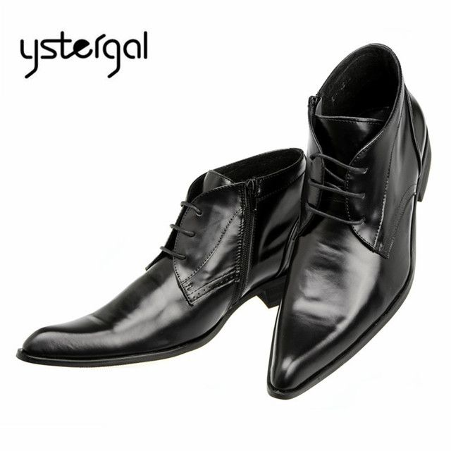 YSTERGAL Black Classic Men Ankle Boots Genuine Leather Flat Botas Hombre Pointed Toe Lace Up Cowboy Boots Wedding Dress Shoes