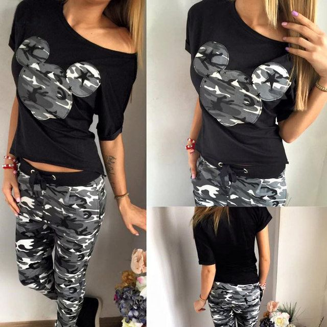 Camouflage Womens Tracksuit Set 2016 New Fashion Slim Cartoon Pattern Womens Sets Casual O-Neck Summer 2 pieces Set Women N10071