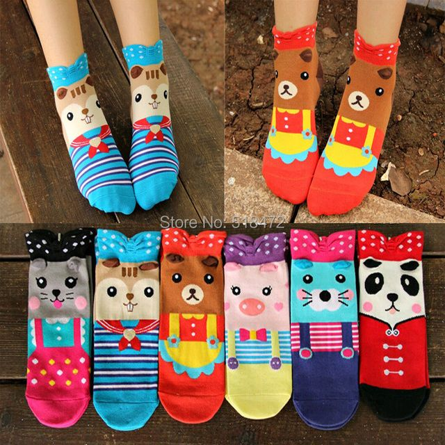 Hot Sale Cartoon animals pink pig novelty sute socks women Lovely colorful spring/summer ankle socks