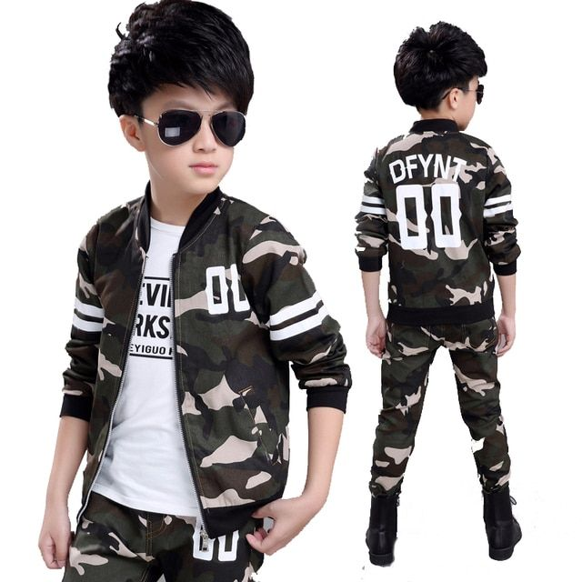2018 Fashion Baby Boy Clothing Set Camouflage Color Kid Clothes Suir O-neck Coat + Pants Military Style Chidlren Battle Fatigues