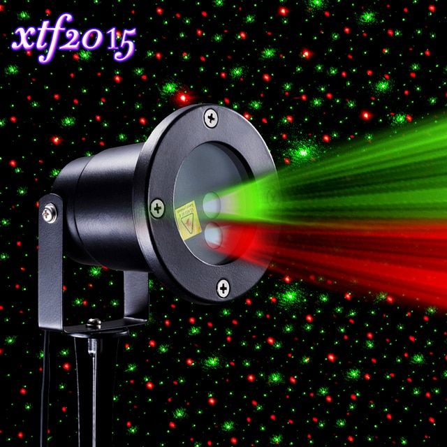 xtf2015 Red and Green Sparkling Star Stage Effect Light Waterproof Wireless Remote Control for Stage Party Garden Decoration E-N