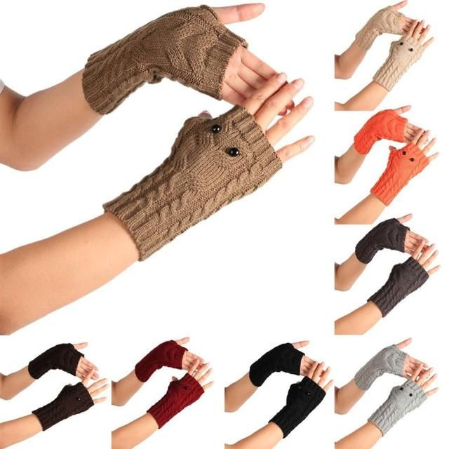 winter women gloves Knitted eye owl gloves girl mittens Wrist Arm Hand Warmer Long Fingerless gloves female warm Mitten 9.5cm