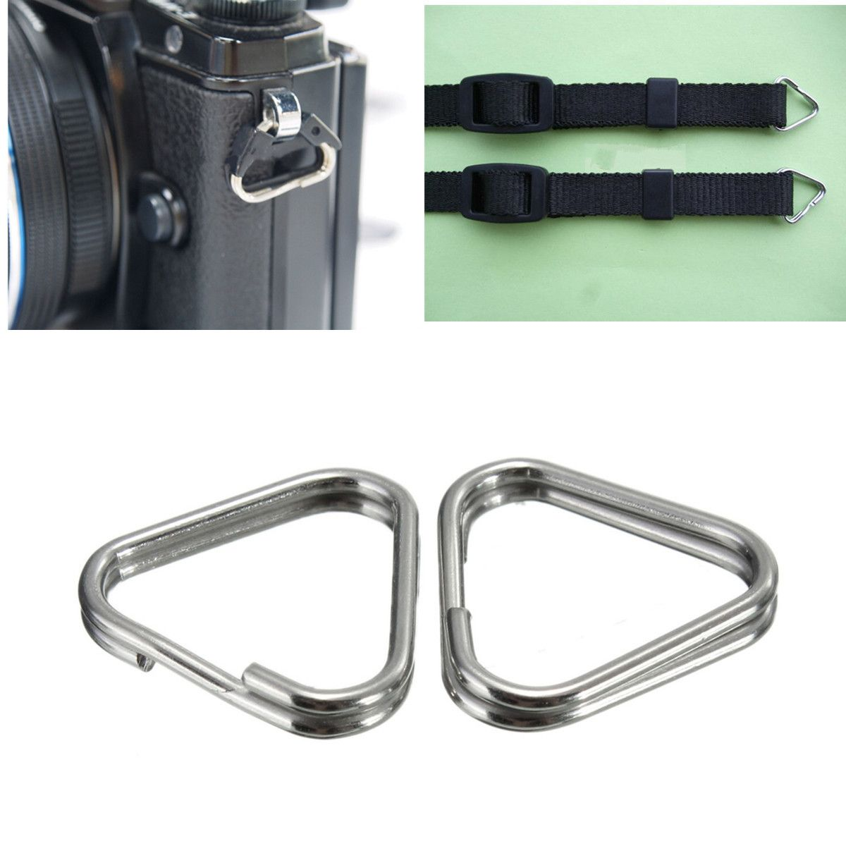 2Pcs Replacement Metal Chrome Finish Camera Strap Split Ring Triangle Rings Hook For digital Camera SLR Strap