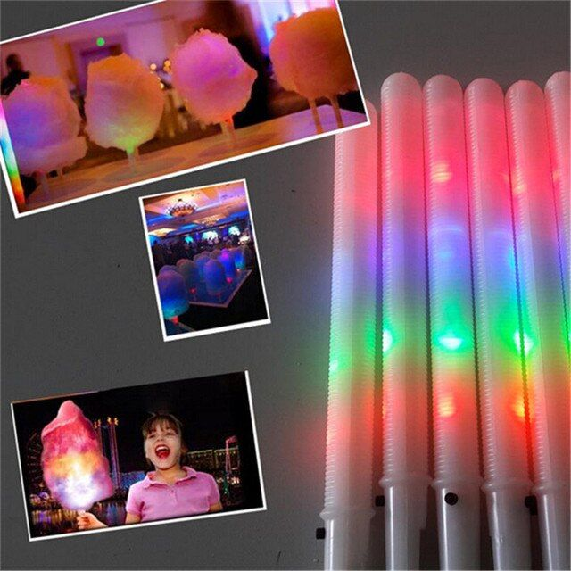 100pcs/lot 28*1.75CM Light Up toys party Cheer led Stick  flash glow Cotton Candy Stick for Vocal Concerts Night Parties