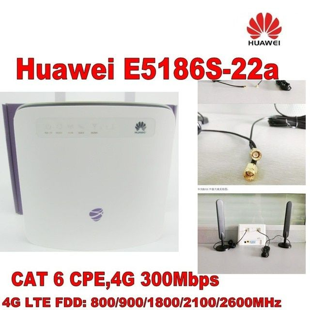 Original unlocked Huawei E5186 Cat6 300Mbps E5186s-22a LTE 4g wireless router 4g FDD TDD cpe wireless router+4G Antenna
