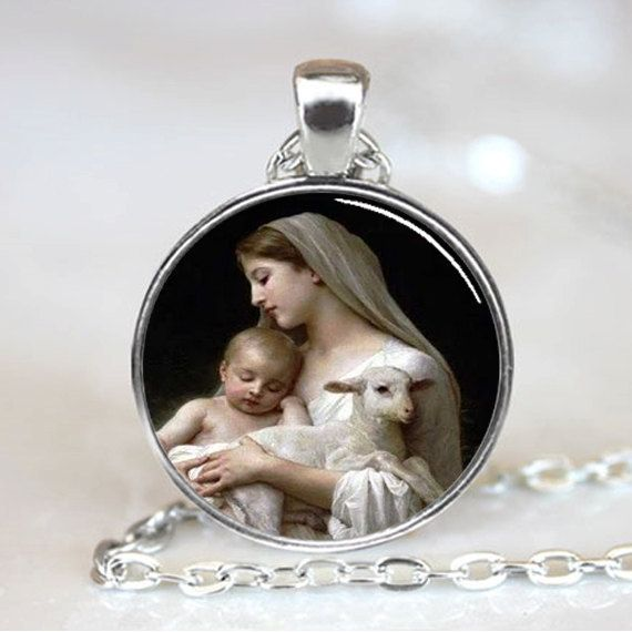 (1 Pieces/Lot) Nativity Pendant Virgin Mary Jesus and Lamb , Spiritual Jewelry , Christmas Pendant , Religious Necklace