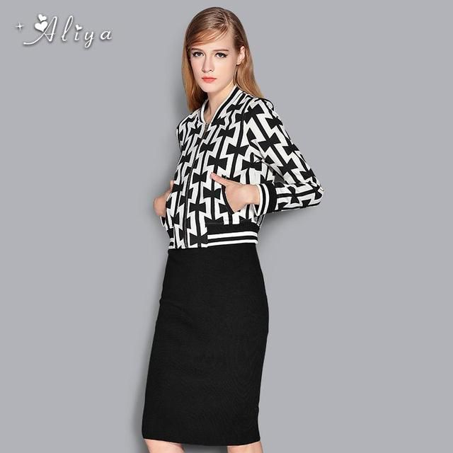 Aliya autumn Winter Casual Fashion brand clothing Long sleeve Zipper printing Coat/Skirts 2 Piece Set For Women free shipping
