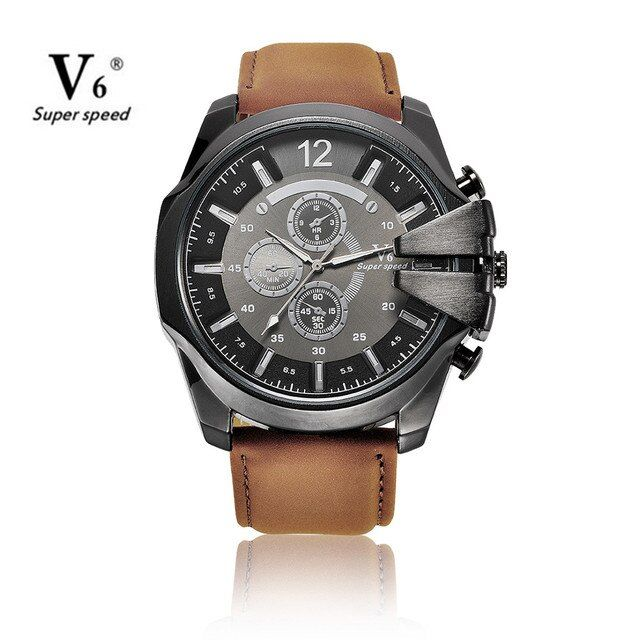 Fashion V6 Brand Mens Watch New Design Analog Sports Quartz Watches Men Clock Business Style Wristwatch Reloj Hombre 2016
