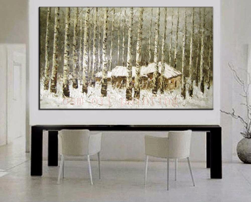 Handmade Wall Art White Birch Forest Oil Painting on Canvas Living Room Decor Hand Painted Modern Moscow Winter Landscape Paints