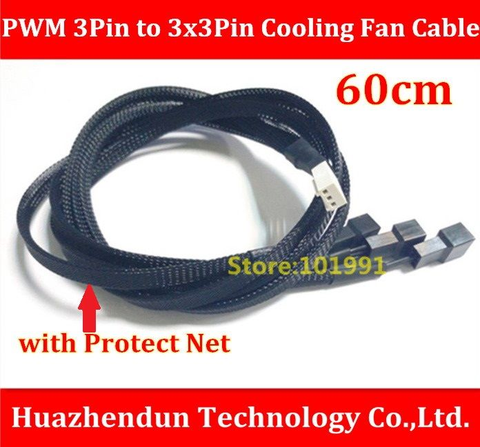 High Quality  1PCS-Motherboard Internal 3Pin Female to 3 x 3Pin PWM Cooling Fan Splitter Power Sleeved Cable   60CM  Wire  22AWG