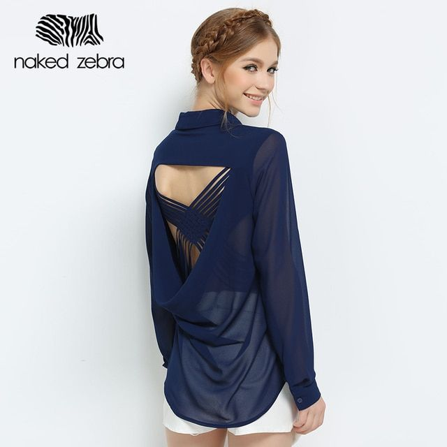 NAKED ZEBRA Creative Design Backless Blouse Spring Open Back Chiffon Long Sleeve Wonmen's Shirt Female Office Sexy Fashion Tops