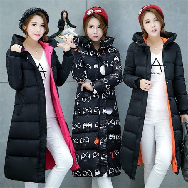 Winter 2016 new ultra-long section of knee-length women's Korean version of Slim thick coat cold coat