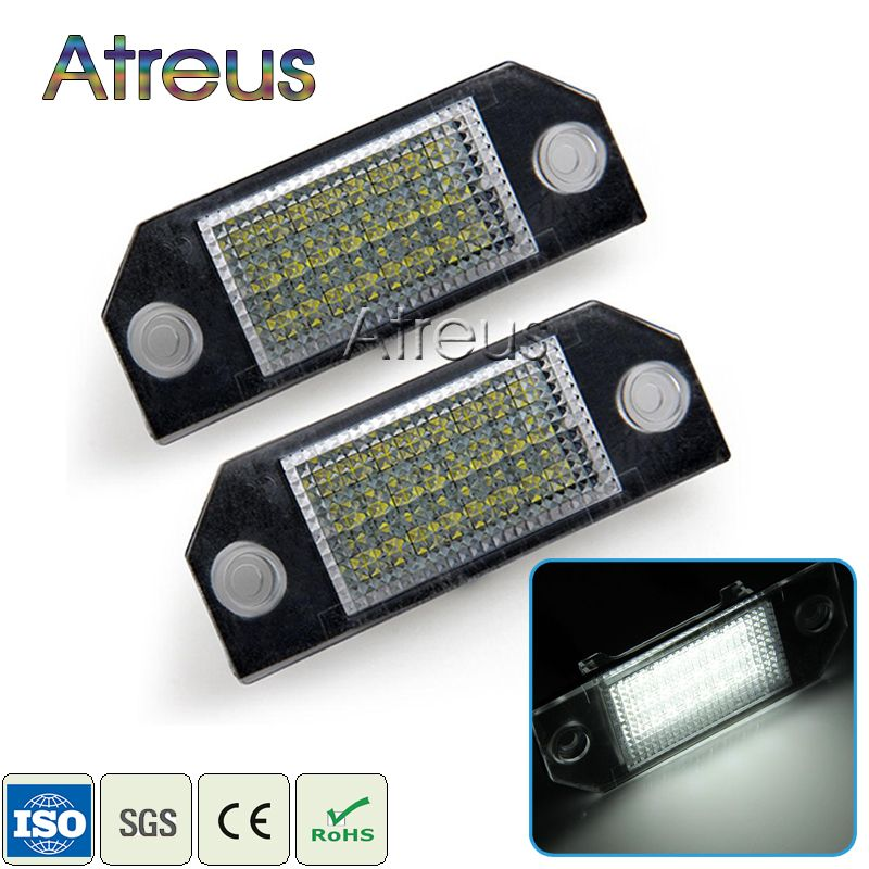 Atreus Car LED License Plate Lights 12V For Ford Focus 2 C-Max accessories No error 2X White SMD LED Number Plate Lamp Bulb Kit