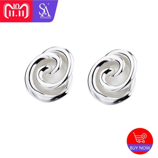 SA SILVERAGE Real 925 Sterling Silver Rose Stud Earrings for Women Fine Jewelry Flower Silver 925 Big Earrings Set Double 11