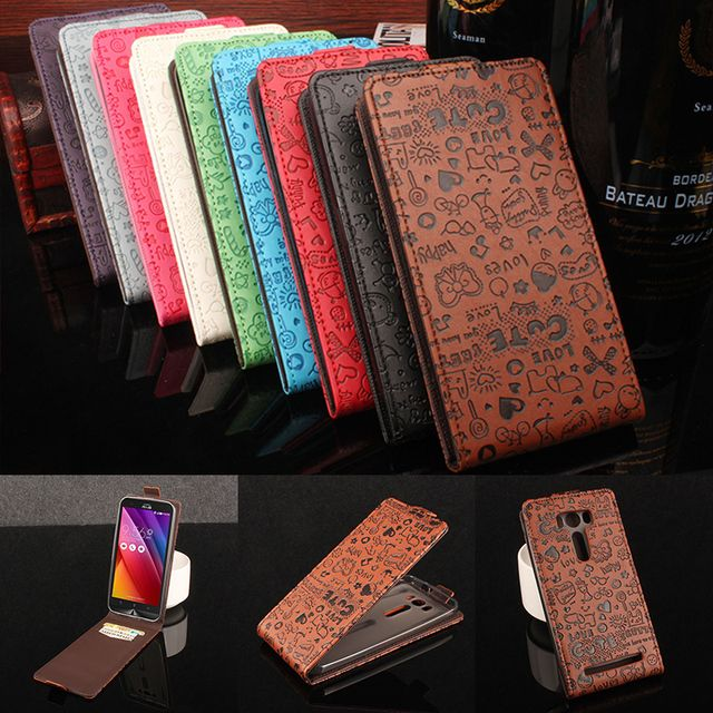 for Asus Zenfone 2 Lazer ZE500KL Case Flip PU+Plastic Holder Wallet Magnetic Cute Cartoon Pattern Vintage Cover for Asus ZE500KL