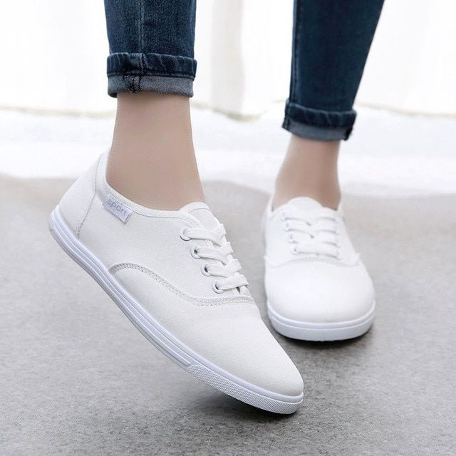 FF276 Spring Autumn Canvas Shoes Women White Lace-up Flat Casual Shoes Round Toe Breathable Single Shoes Woman zapatos mujer