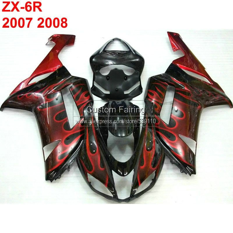 Free Custom fairings for Kawasaki zx6r zx 6r Ninja 07 08 2007 2008 red flames Injection fairing kit TP32