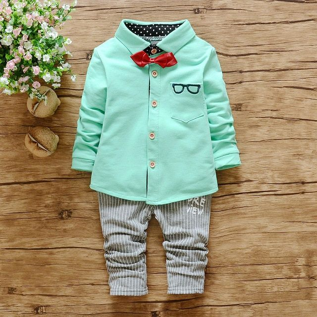 New Baby Boys Clothing Set children Bow tie gentleman kids clothes set cotton 2pcs boys suit spring children clothing sets